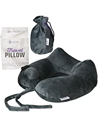 Travel Pillow / Neck Pillow Ideal for Airplanes Travelling Inflatable Neck Support – Best Luxury Lightweight Sleeping Rest Cushion for Plane Flight and Self Pump No Need to Blow Up