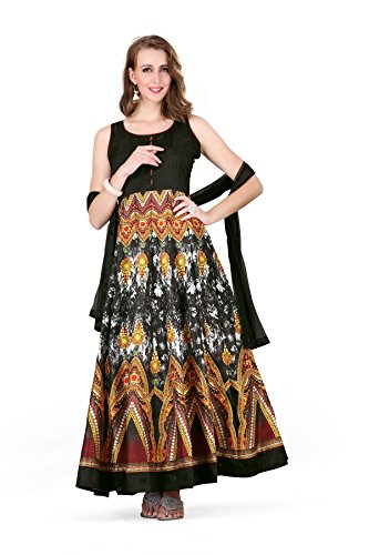 Pinkbird Women\'s Melodic Black Bhagalpuri Cotton Semi-Stitched Printed Anarkali Suit (PPNK-160)
