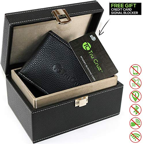 Tru Cruz Keyless RFID-Signalblocker für Autoschlüssel, Sicherheitsbox und -tasche, schwarzes PU-Leder mit hellgrauer Naht und silbernem Schloss, Faraday-Etui für Smart Keys, Telefon oder Kreditkarten