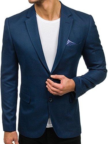 BOLF Herren Sakko mit Dekorative Knöpfe Elegant Slim Fit BIBLOS 2222 Blau M_50 [4D4] (Mit Zwei-knopf-blazer Einreiher)