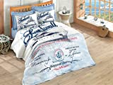 Häfen, 100% Baumwolle, Schiff Multifunktional Vier Saison-Set NAUTICAL Betten, gesteppte Tagesdecke/Bettbezug Set, (Zwei 3PCS, Queen 4PCS) blau, baumwolle, blau, Full/Queen