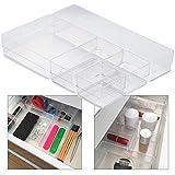 Hausfelder ORDNUNGSLIEBE Schubladen Organizer (5-teiliges Set) Ordnungssystem zur Aufbewahrung für Küche Büro Schminktisch Kosmetik, variabel und transparent aus Kunststoff