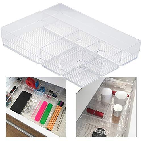 Hausfelder ORDNUNGSLIEBE Schubladen Organizer (5-teiliges Set) Ordnungssystem zur Aufbewahrung für Küche Büro Schminktisch Kosmetik, variabel und transparent aus Kunststoff (5 Organizer Schubladen)