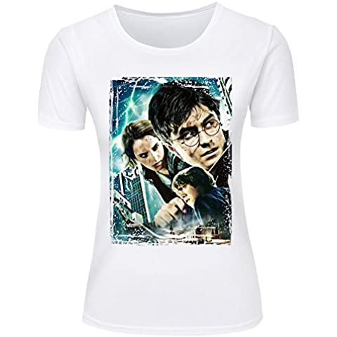 Harry Potter Film Series Printed Cotton T-shirts For Womens Black/White