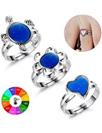 Finrezio 3-Piece Colour Changing Mood Ring for Women and Girls Adjustable Size