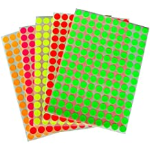 Neon Color Coding Labels 3/8 (0.375) inch 10 mm Round Dot Stickers - 5 Different fluorescent Colors Dots Label - three eights inch rounds sticker by Royal Green