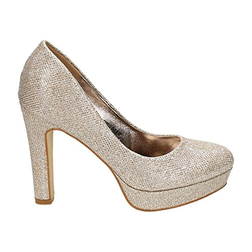 King Of Shoes, Chaussures Compensées Femme Or