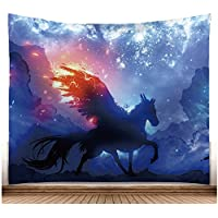 Psicodelia Magisch fliegendes caballo pared Alfombra Fuego caballo con alas pared tapiz de acuarela pared colgantes