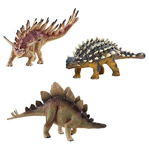 (deAO Dinosaurier-Figuren Realistische Prähistorischen Spielfiguren Set (Kentrosaurus, Ankylosaurus & Stegosaurus))