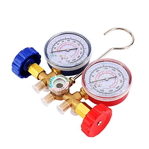 Keenso AC Manifold Messgerätesatz Kältemitteldiagnostik Manifold Messgerät und -schlauch-Set mit 80 cm / 36 Zoll-Schlauch für R12 R22 R502, Klimaanlage-Tools AC Recovery Service Tool Kit -