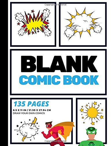 Blank Comic Book: Create Your Own Comic Strip, Blank Comic Panels, 135 Pages, Sky Blue (Large, 8.5 x 11 in.) (Action Comics) -