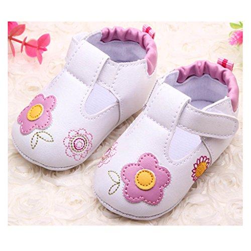 FYGOOD Chaussures Souples Bébé Chaussons Enfant Unisex en cuir Doux Bleu 12/longueur intérieur:11.5CM, 6-8mois Rose