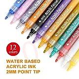 JOIJUN Acrylfarben Marker Stifte, Marker Set 12 Farben Premium Paint Pens für Malerei auf Stein, Glas, Leinwand, Metall, Holz, Keramik, Osterei, DIY Craft Projects Mehrfarbig