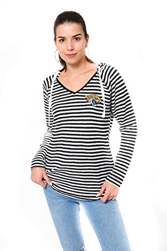Icer Brands NFL Damen Pullover mit V-Ausschnitt, gestreift, Teamfarbe, Damen, V-Neck Hoodie Pullover Stripe Sweatshirt, Team Color, schwarz, Large -