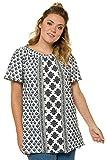 Ulla Popken Damen große Größen bis 62+ | Carmenshirt aus Flammjersey | Weiter Ausschnitt | Halbarm | Ausgestellter Saum | tiefseeblau 58/60 716214 70-58+