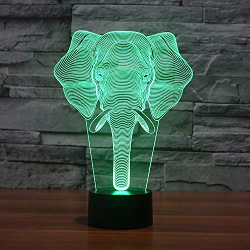 7 színes elefánt 3D lámpa vizuális LED éjszakai fény lámpa távoli érintéssel...