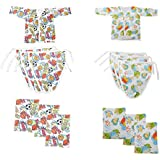 New Born Unisex 100 % Super Soft Cotton 14 Piece Layette Baby Clothing Gift Set Of 6 Wipes, 6 Nappies Bottom Bumpers , & 2 T-Shirt Jhabla With Assorted Colors Essential Summer Infant Luvable Friends Cool & Unique Shower