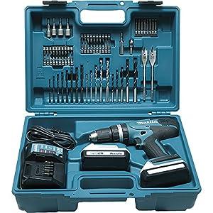 Makita HP457DWE10 Taladro percutor 2×18 V 1,3Ah Li, maletin y 74 accesorios incluidos
