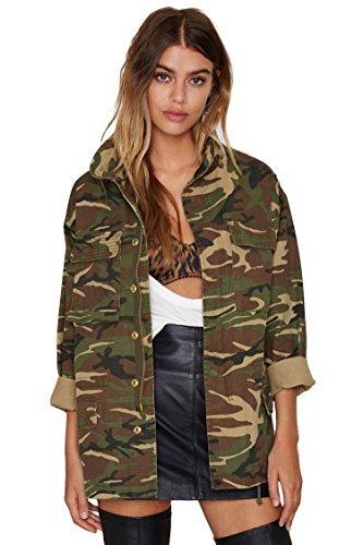 Escalier Frauen Taschen camouflage Military Vintage Jacken Mantel Denim Armee Gruen, Gr. 34 (Camo)