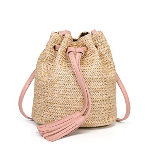 TOBEEY Frauen-Eimer-Schulter-Beutel-Sommer-Quasten-Feiertags-Spielraum-Kurierbeutel-handgewebte Stroh-Strand-Handtasche