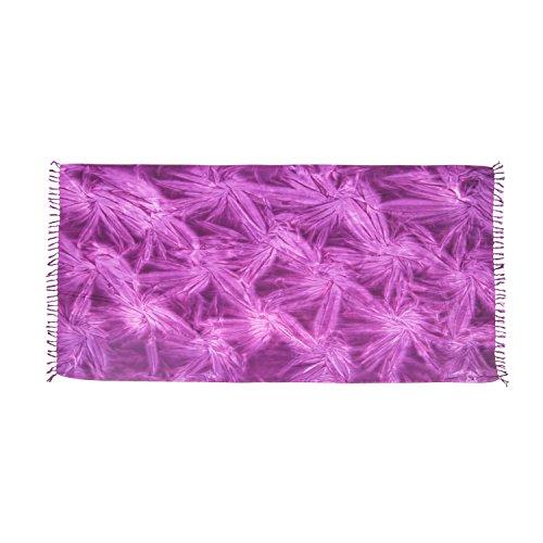 ManuMar Damen Sarong | Pareo Strandtuch | Leichtes Wickeltuch mit Fransen-Quasten (L: 115 x 225 cm, Lila Floral)