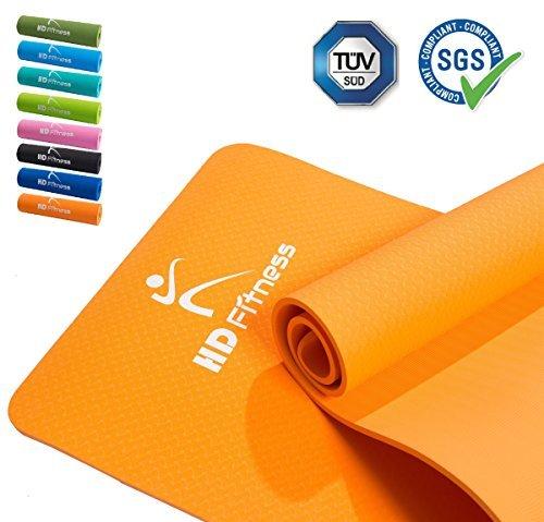 HD Fitness® Gym épaisse et douce / tapis EXTRA, idéal pour le yoga pilates, entraînement en salle de sport / taille: 180 x 61 0.8mm / Orange