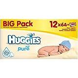 Huggies Lingettes bébé Pure (64 par paquet x 12) - Paquet de 6