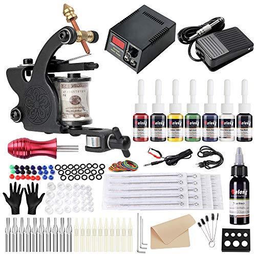 Solong Tattoo Maschine Set Für Anfänger 1 Maschine 7 Tinten Nadeln Energieversorgung Pedal Tattoo Kit 109