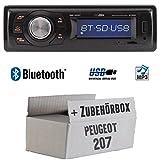 Peugeot 207 - Autoradio Radio Caliber RMD020BT - Bluetooth | MP3 | USB | Einbauzubehör - Einbauset
