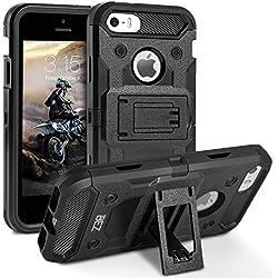 BEZ Coque pour iPhone 5S, Coque Etui Housse iPhone 5 5S Se Antichoc Militaire [Tough Armor] Heavy Duty Shock Proof Survivor Protective Housse - Noir