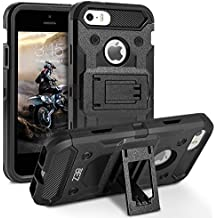 Cover iPhone 5S, Cover iPhone SE / 5, BEZ™ Heavy Duty Cover Belt Clip Holster Kickstand [Antiurto] Custodia Paraurti Rugged adatta per iPhone 5 5S SE - Nero