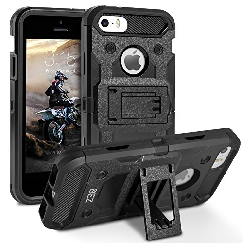 iPhone 5S Hülle, iPhone SE Hülle, BEZ™ [Heavy Duty Serie] Outdoor Dual Layer Armor Case [Stoßfestes Etui] [Schwarz] Handy Schutzhülle [Shockproof] robuste Hülle für iPhone 5 5S SE
