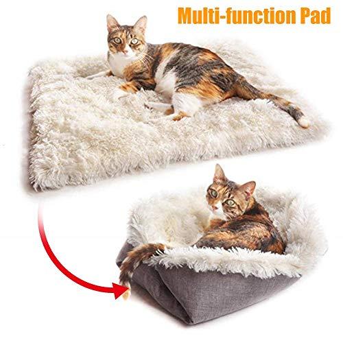 2 In 1 Katzenbett Waschbar Haustierbett Kissen Winter Warm Katzendecke Multifunktions-Pad Mit Angenehmen Plüschinnenteil (61cm x 51cm)