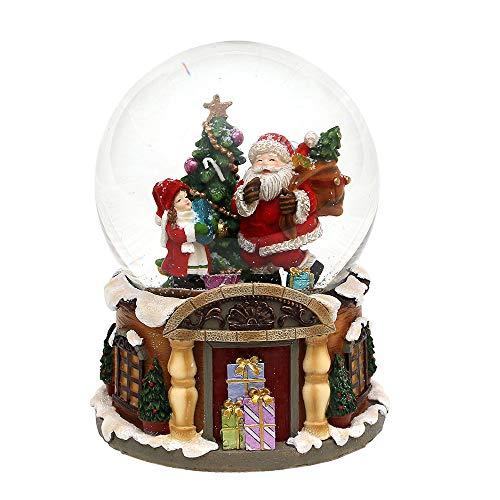SIGRO Gold Polyresin Schneekugel Santa mit Kind und Tanne 11 x 11 x 14 cm Ø 10 cm Spielwerk Stille Nacht
