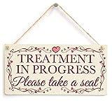 Shunry Treatment In Progress Please Take a Seat Wandbehang Plakette Zeichen Holzschild Dekor Rustikale Dekorationen Bad Schlafzimmer Toilette Hotel Begrüßungsbar