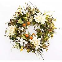 Couronne automnale artificielle avec chrysanthèmes, cornouiller, baies, blanc-jaune, Ø 30 cm - couronne décorative / fleurs artificielles - artplants
