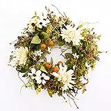 artplants Künstlicher Herbstkranz mit Chrysanthemen, Hartriegel, Beeren, weiß-gelb, Ø 30 cm - Herbstdekoration/Türkranz