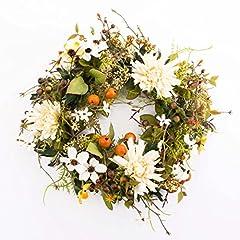 Idea Regalo - Ghirlanda autunnale artificiale con crisantemi, cornioli, bacche, bianco-giallo, Ø 30 cm - Autunno decorazione / Corona decorativa - artplants