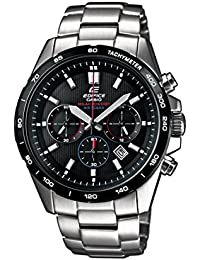 Casio Edifice Men's Quartz Watch with Black Dial Analogue Display and Silver Stainless Steel Bracelet EFR-518SB-1AVEF
