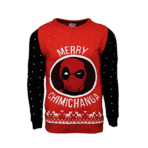 4x Sweatshirt (Marvel Offiziell Deadpool Merry Chimichanga Weihnachtsstrickjacke / Sweater - 4X Large)