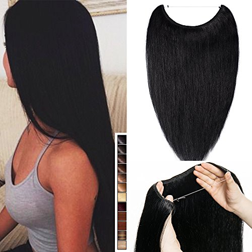 Wire in human hair extension capelli umani veri one piece con filo invisibile lisci - 40cm 60g, 1 jet nero