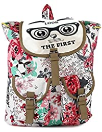 Fab Deals New Stylish Big Size White & Pink Printed Backpack Bag Gift & Sales 216