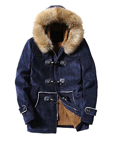 Homme Duffle Coat à capuche en molleton épais d'hiver Veste décontractée Outwear Trench Parka Unisex