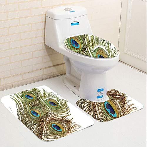 Bag hat Three-Piece Toilet seat pad customPeacock Collection Macro Peacock Tail Feather Like Third Eyes Vitality New Life Path Awakening Print White Green -