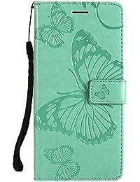 DENDICO Galaxy J8 Hülle, PU Leder Handyhülle mit Standfunktion und Kartenfach, Schmetterling Muster Magnetverschluss Flip Brieftasche Etui TPU Schutzhülle für Samsung Galaxy J8 - Vert