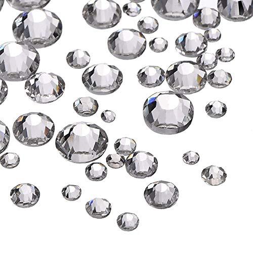 Paquete de 1200piezas, brillantes de fondo plano, piedras de cristal redondas, varios tamaños disponibles