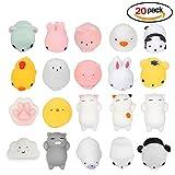 Jspoir Melodiz Mochi Squishy Toys, 20Pcs Cute Mini Animals, Stress Relief Toys, Elastic Type