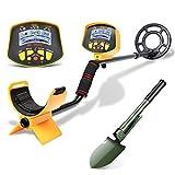 HOOMYA Detector de Metales Profesional con Pala, Detector de Metales subterráneo Impermeable de Alta sensibilidad Búsqueda de Joyas Búsqueda de Tesoros Pantalla LCD-MD9020C