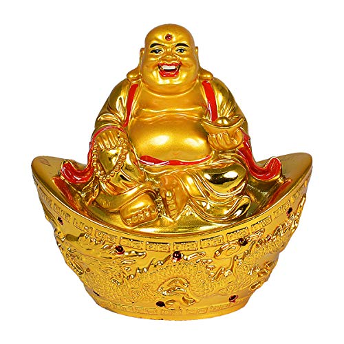 Reiki Crystal Products Vastu/Feng Shui Laughing Buddha with Dragon Boat & Ingot for Wealth & Success