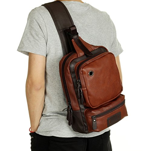 Zhhlaixing Men's Fashion PU leather Messenger Bag Outdoor Casual Sports Shoulder Bags Dark Brown